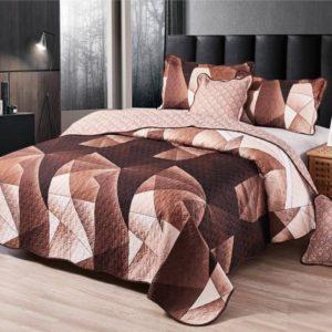 Set cuvertura de pat matlasata + 4 Fete de perna, 100% Bumbac, 5 Piese, Maro, CA5P7001