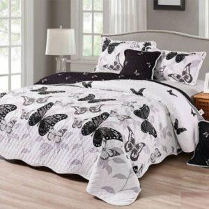 Set cuvertura de pat matlasata + 4 Fete de perna, 100% Bumbac, 5 Piese, Fluturi, Alb/Negru, CA5P7004