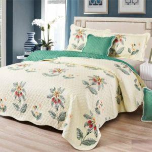 Set cuvertura de pat matlasata + 4 Fete de perna, 100% Bumbac, 5 Piese, Imprimeu cu Flori, Crem/Galben, CA5P7006