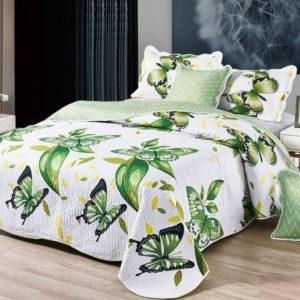 Set cuvertura de pat matlasata + 4 Fete de perna, 100% Bumbac, 5 Piese, Fluturi, Alb/Verde, CA5P7007