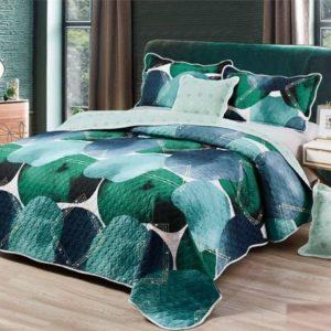 Set cuvertura de pat matlasata + 4 Fete de perna, 100% Bumbac, 5 Piese, Shade, Verde, CA5P7008