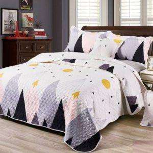 Set cuvertura de pat matlasata + 4 Fete de perna, 100% Bumbac, 5 Piese, Munti, Alb/Gri/Galben, CA5P7016