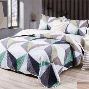 Set cuvertura de pat matlasata + 4 Fete de perna, 100% Bumbac, 5 Piese, Spectrum,, Alb/Crem, CA5P7018