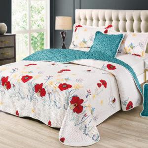 Set cuvertura de pat matlasata + 4 Fete de perna, 100% Bumbac, 5 Piese, Imprimeu cu Flori, Alb/Turcoaz, CA5P7021