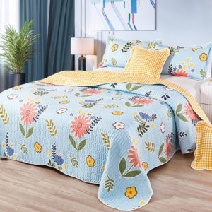 Set cuvertura de pat matlasata + 4 Fete de perna, 100% Bumbac, 5 Piese, Imprimeu cu Flori, Albastru/Galben, CA5P7035