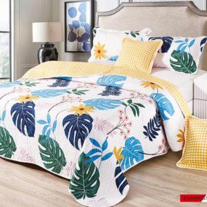 Set cuvertura de pat matlasata + 4 Fete de perna, 100% Bumbac, 5 Piese, Imprimeu cu Flori, Alb/Galben, CA5P7036