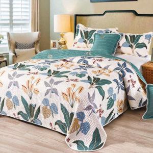 Set cuvertura de pat matlasata + 4 Fete de perna, 100% Bumbac, 5 Piese, Imprimeu cu Flori, Alb/Verde, CA5P7037