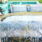 Lenjerie de pat Premium, Pat dublu, 100% Bumbac Organic, Tesatura Ranforce, Reeds Indigo, MO9018