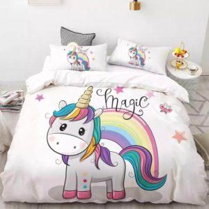 Lenjerie de pat pentru copii, Pat Dublu, 6 Piese, 100% Bumbac Finet, Unicornul Magic, Alb, NOW11009