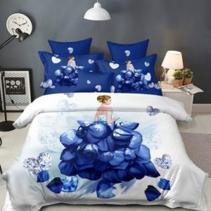 Lenjerie Pucioasa pentru pat dublu, 6 piese, Bumbac Finet Superior, Flori si Diamante, Alb/Albastru, PP1012