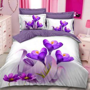 Lenjerie Pucioasa pentru pat dublu, 6 piese, Bumbac Finet Superior, Flori de Iris, Alb/Albastru, PP1013