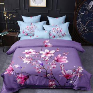 Lenjerie Pucioasa pentru pat dublu, 6 piese, Bumbac Finet Superior, Flori de Cires, Bleu/Mov, PP1014