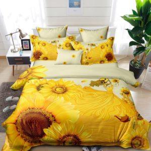 Lenjerie Pucioasa pentru pat dublu, 6 piese, Bumbac Finet Superior, Floarea Soarelui, Galben, PP1016