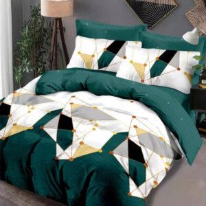 Lenjerie pat dublu, King Size, 6 Piese, 100% Bumbac Finet, Imprimeu Modern, Verde Smarald/Alb, CA1092