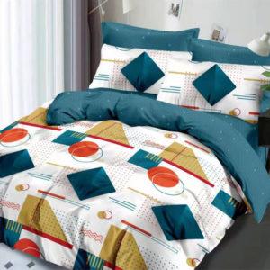 Lenjerie pat dublu, King Size, 6 Piese, 100% Bumbac Finet, Imprimeu Modern, Albastru/Alb, CA1094