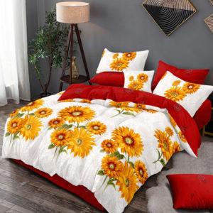 Lenjerie pat dublu, King Size, 6 Piese, 100% Bumbac Finet, Imprimeu Floarea soarelui, Alb/Rosu, CA1105